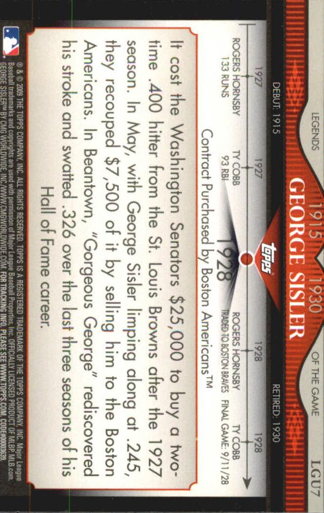 2009 Topps Legends of the Game #LGU07 George Sisler back image