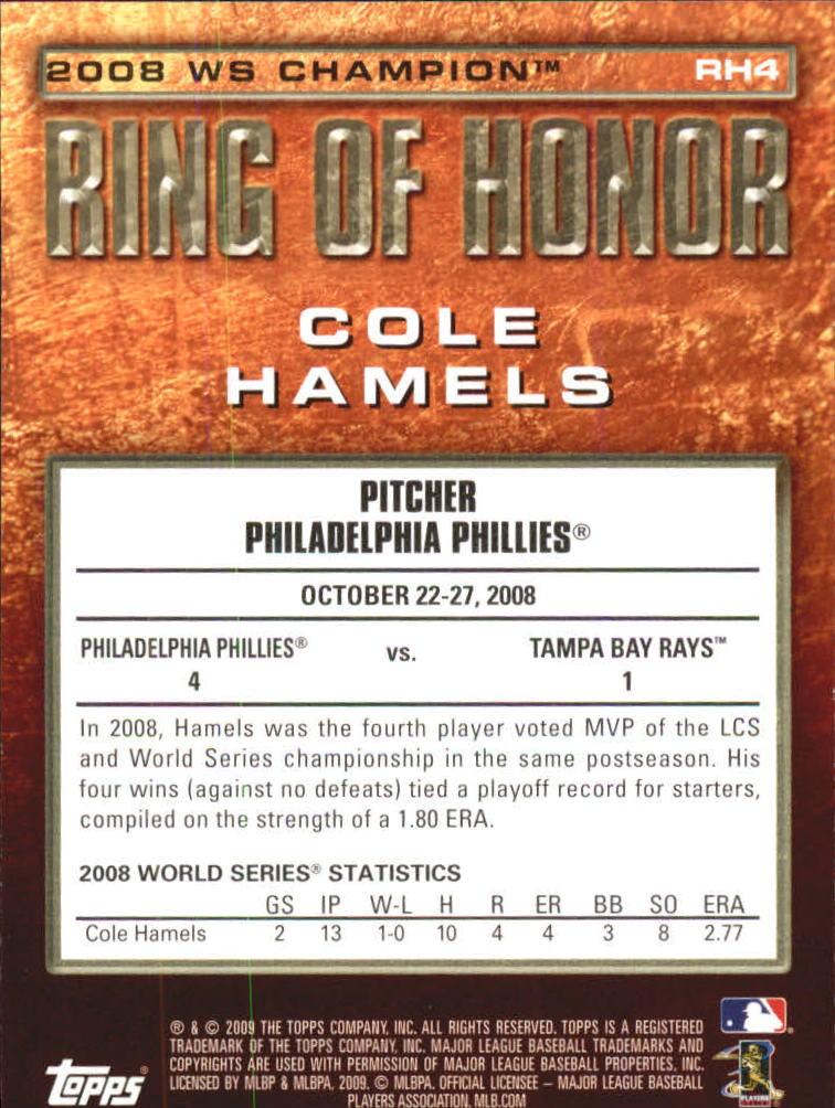 2009 Topps Ring Of Honor #RH4 Cole Hamels back image