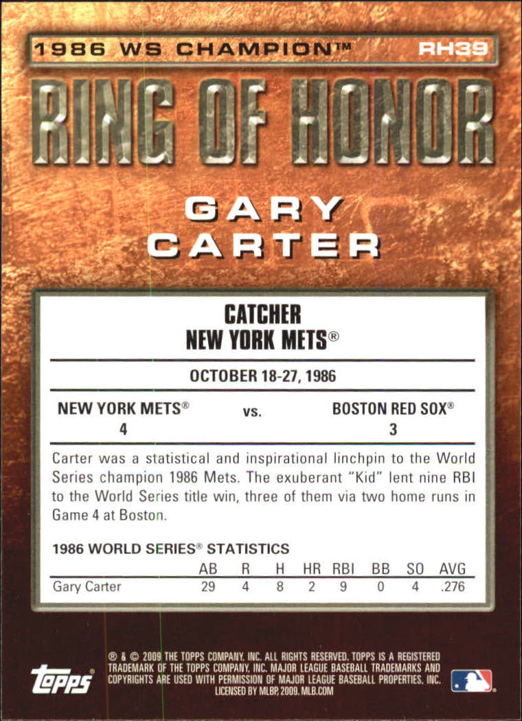2009 Topps Ring Of Honor #RH39 Gary Carter back image