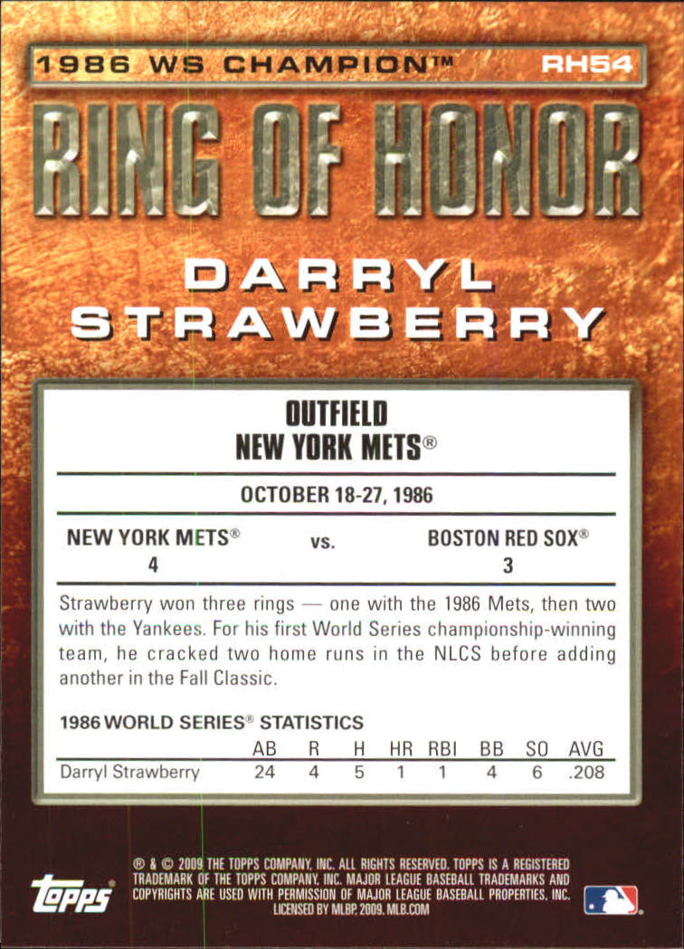 2009 Topps Ring Of Honor #RH54 Darryl Strawberry back image