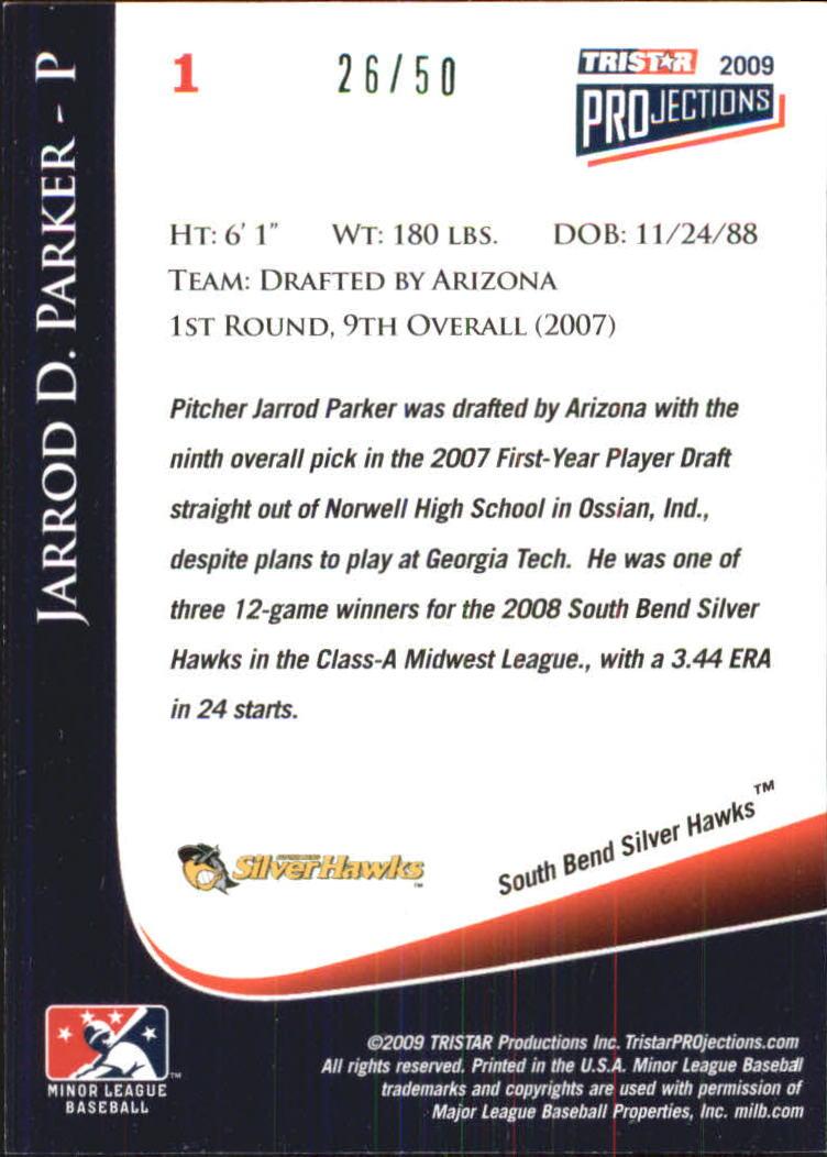 2009 TRISTAR PROjections #1 Jarrod Parker back image
