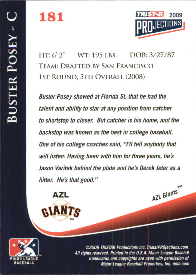 2009 TRISTAR PROjections #181 Buster Posey back image