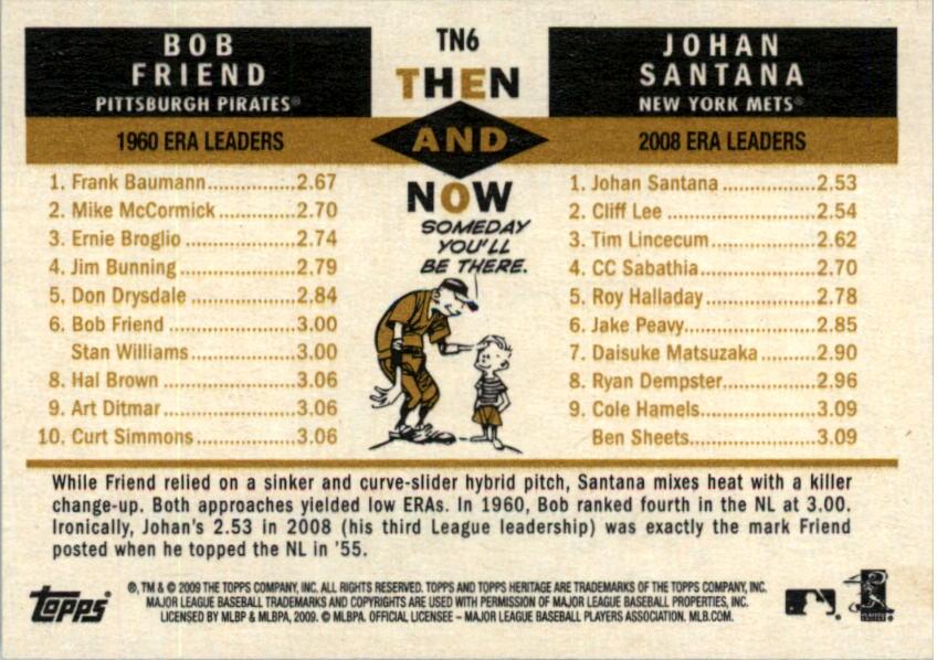 2009 Topps Heritage Then and Now #TN6 Bob Friend/Johan Santana back image