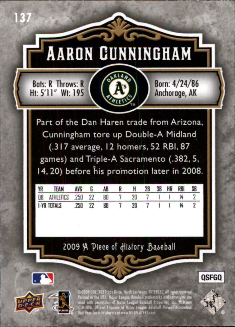 2009 UD A Piece of History #137 Aaron Cunningham RC back image