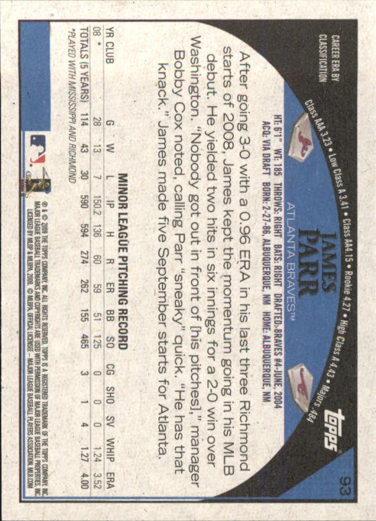 2009 Topps Target #93 James Parr back image