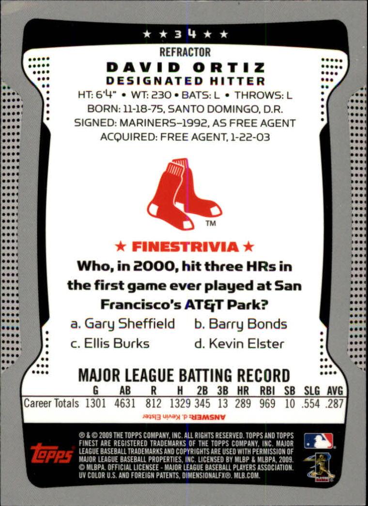2009 Finest Refractors #34 David Ortiz back image