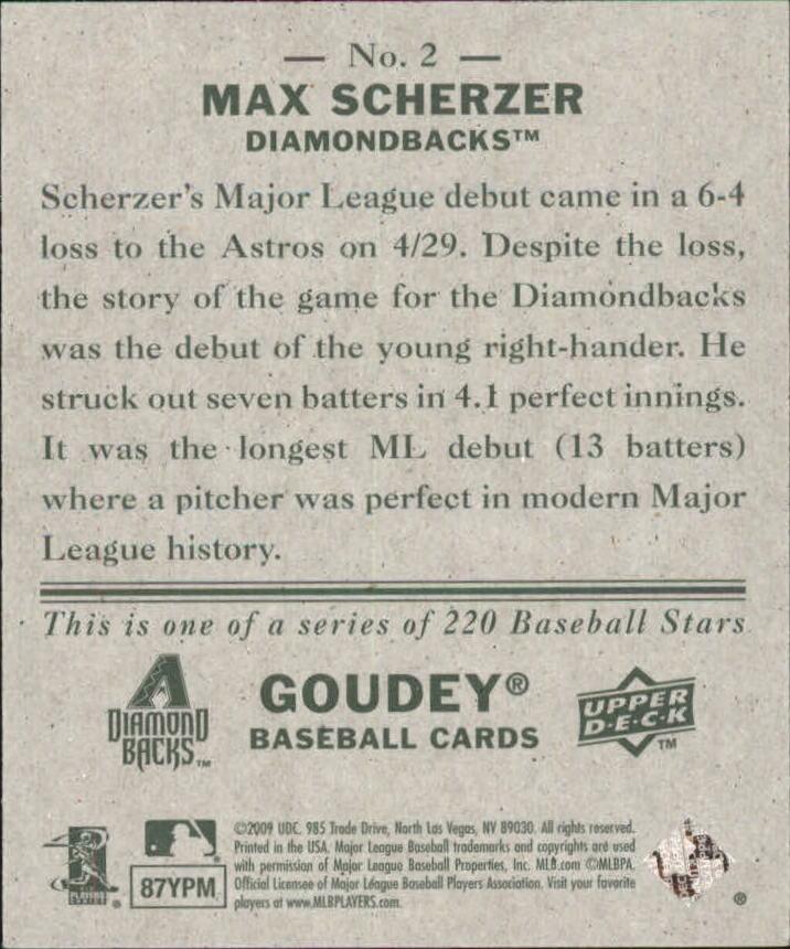 2009 Upper Deck Goudey Mini Green Back #2 Max Scherzer back image