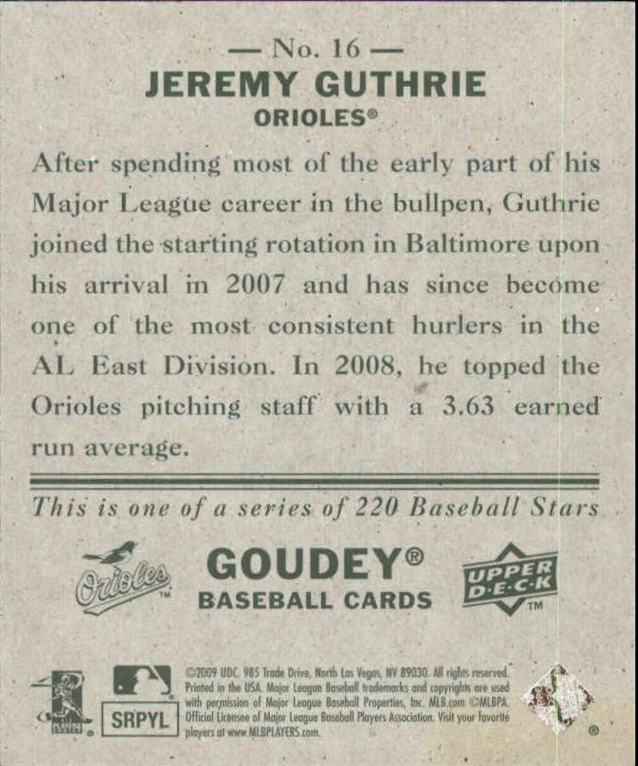 2009 Upper Deck Goudey Mini Green Back #16 Jeremy Guthrie back image