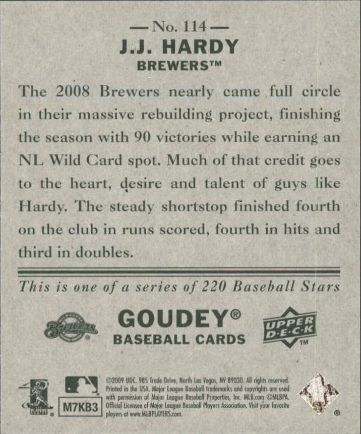2009 Upper Deck Goudey Mini Green Back #114 J.J. Hardy back image