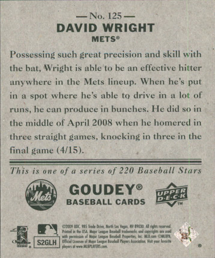2009 Upper Deck Goudey Mini Green Back #125 David Wright back image
