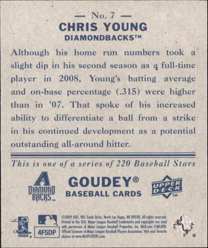 2009 Upper Deck Goudey Mini Navy Blue Back #7 Chris B. Young back image