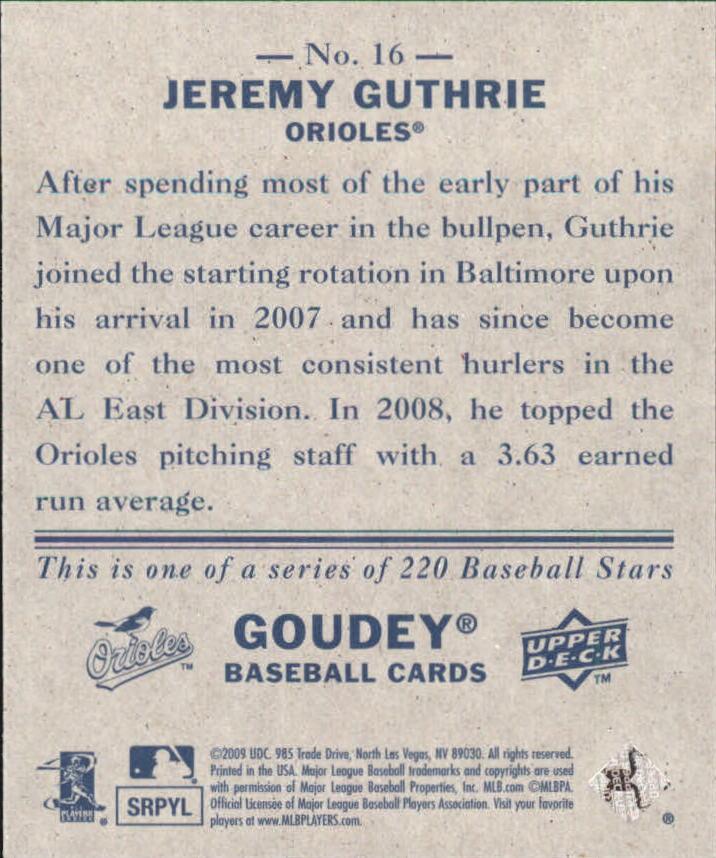 2009 Upper Deck Goudey Mini Navy Blue Back #16 Jeremy Guthrie back image