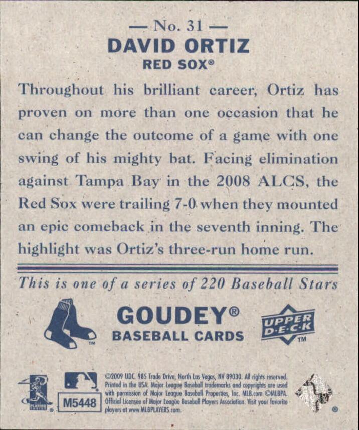 2009 Upper Deck Goudey Mini Navy Blue Back #31 David Ortiz back image