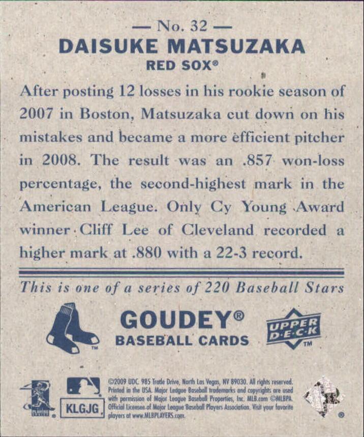 2009 Upper Deck Goudey Mini Navy Blue Back #32 Daisuke Matsuzaka back image
