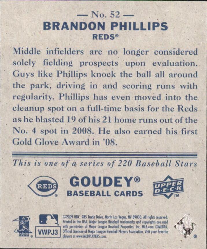 2009 Upper Deck Goudey Mini Navy Blue Back #52 Brandon Phillips back image