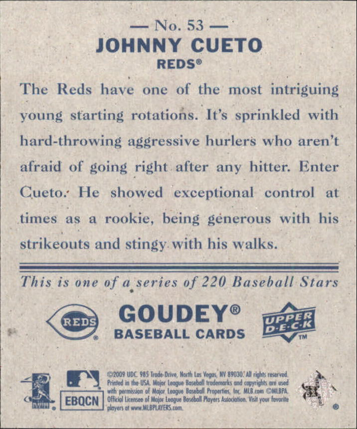 2009 Upper Deck Goudey Mini Navy Blue Back #53 Johnny Cueto back image