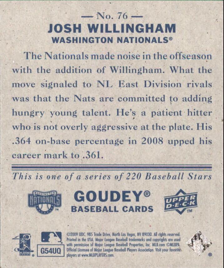 2009 Upper Deck Goudey Mini Navy Blue Back #76 Josh Willingham back image