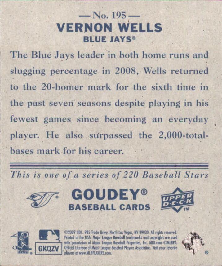 2009 Upper Deck Goudey Mini Navy Blue Back #195 Vernon Wells back image