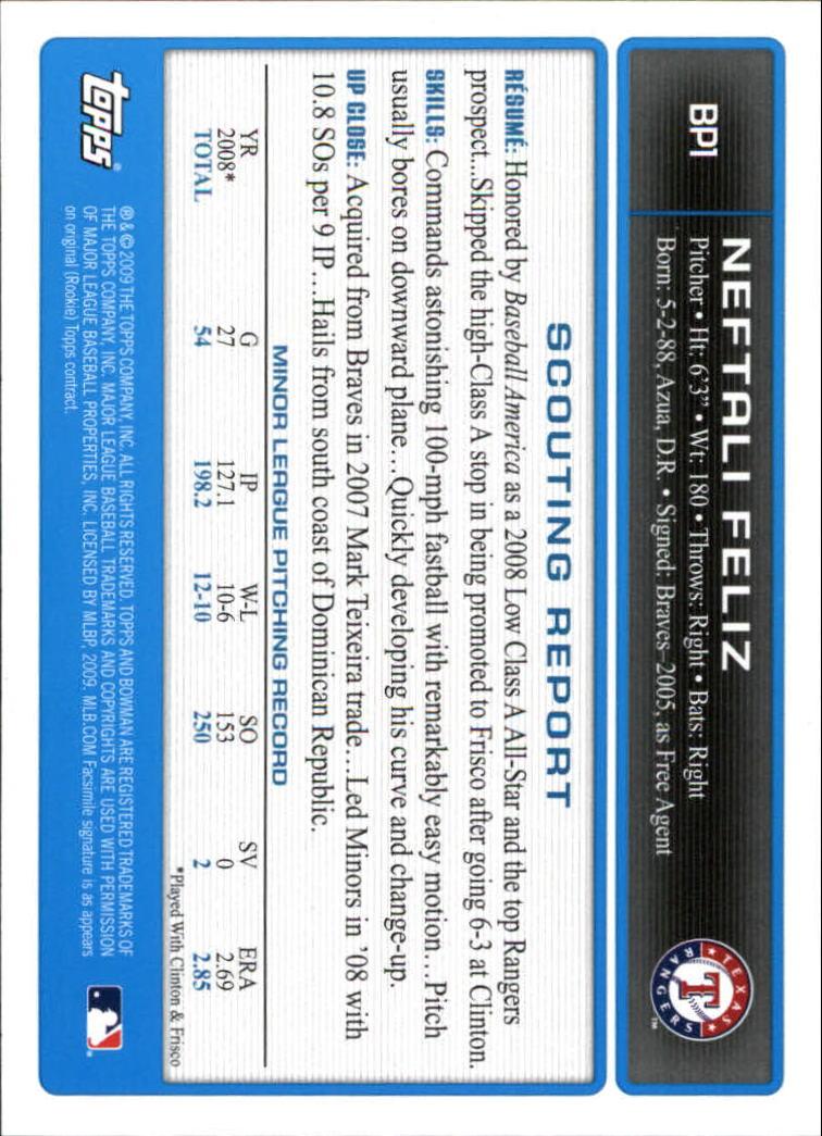 2009 Bowman Prospects #BP1 Neftali Feliz back image