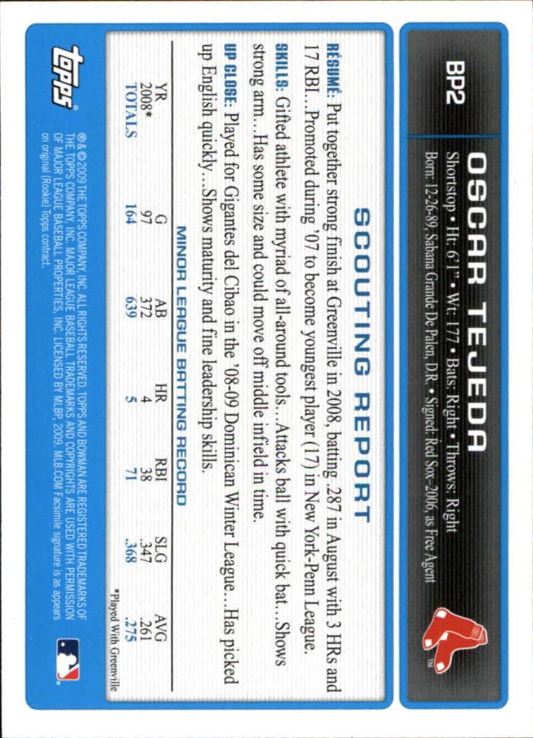 2009 Bowman Prospects #BP2 Oscar Tejeda back image