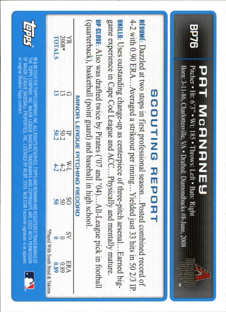 2009 Bowman Prospects #BP76 Pat McAnaney back image