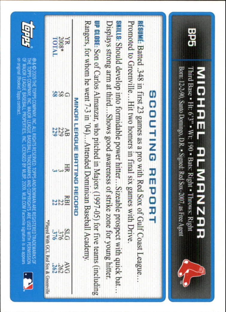 2009 Bowman Prospects Gold #BP5 Michael Almanzar back image
