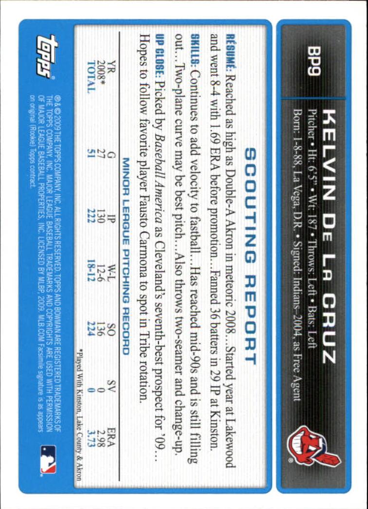 2009 Bowman Prospects Gold #BP9 Kelvin de la Cruz back image