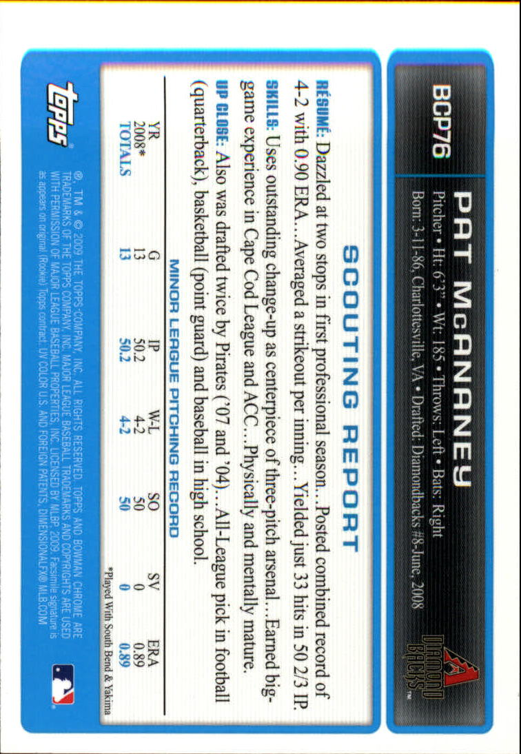 2009 Bowman Chrome Prospects #BCP76 Pat McAnaney back image
