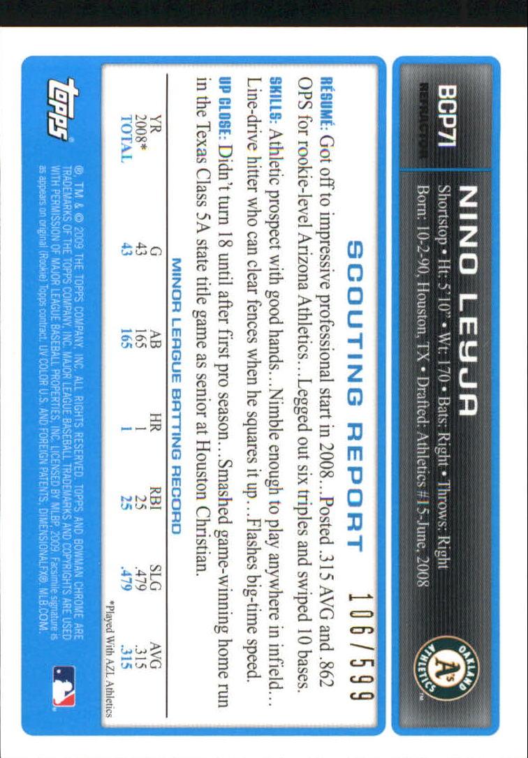 2009 Bowman Chrome Prospects Refractors #BCP71 Nino Leyja back image