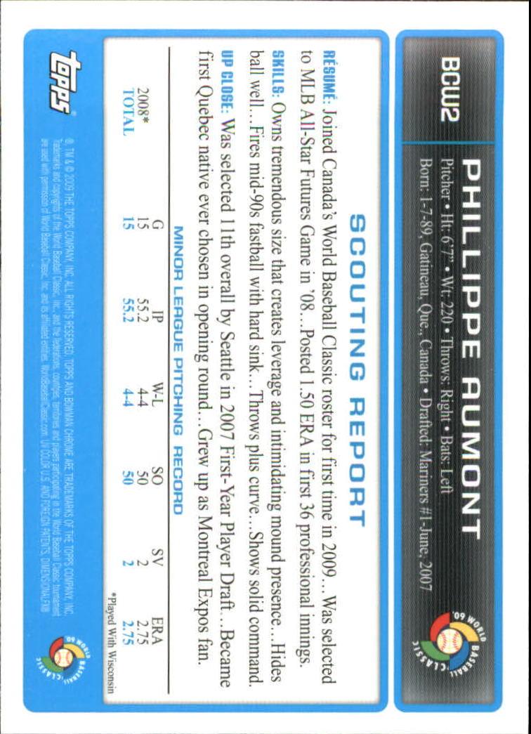 2009 Bowman Chrome WBC Prospects #BCW2 Phillippe Aumont back image