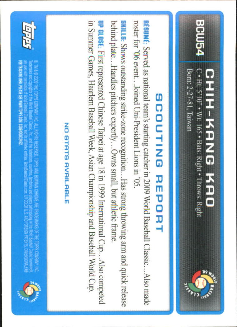 2009 Bowman Chrome WBC Prospects #BCW54 Chih-Kang Kao back image