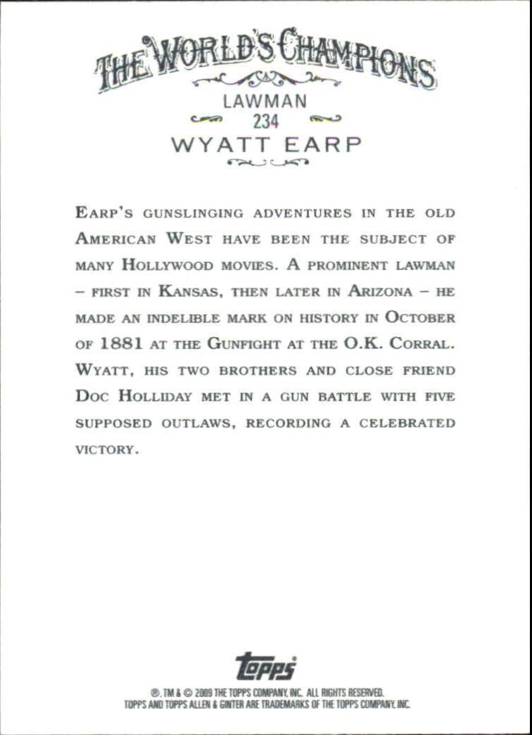 2009 Topps Allen and Ginter #234 Wyatt Earp back image