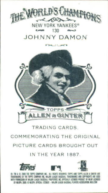 2009 Topps Allen and Ginter Mini A and G Back #130 Johnny Damon back image