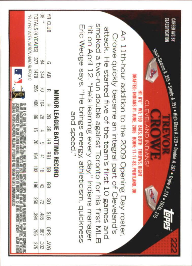 2009 Topps Chrome #222 Trevor Crowe AU back image
