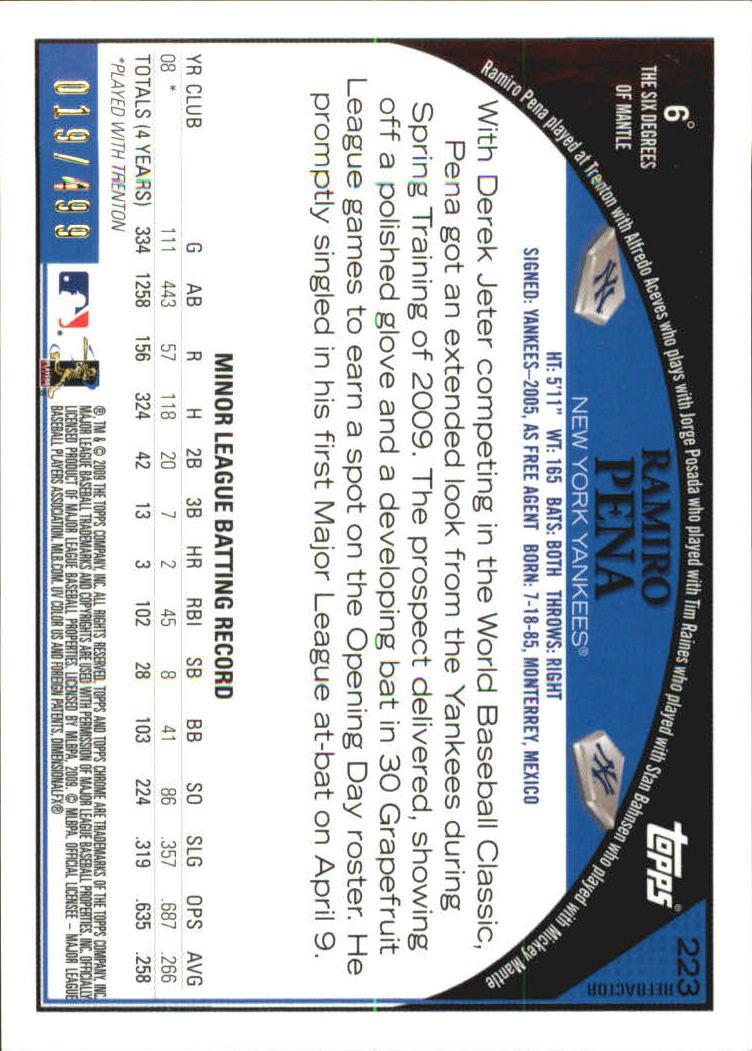 2009 Topps Chrome #223 Ramiro Pena AU back image