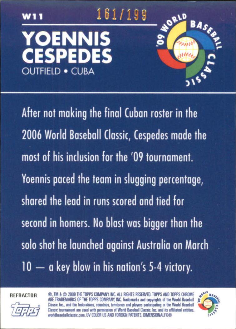 2009 Topps Chrome World Baseball Classic Blue Refractors #W11 Yoennis Cespedes back image