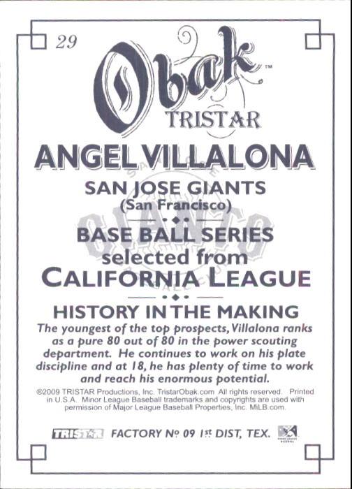 2009 TRISTAR Obak #29 Angel Villalona back image
