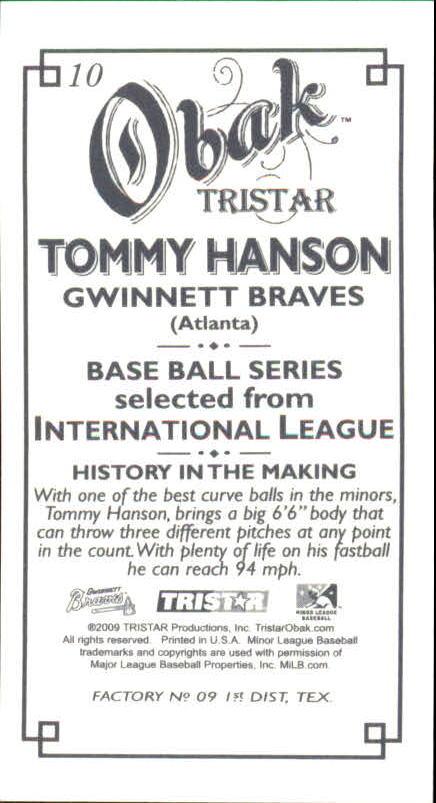 2009 TRISTAR Obak Mini T212 #10 Tommy Hanson back image