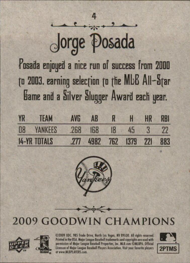 2009 Upper Deck Goodwin Champions #4 Jorge Posada back image
