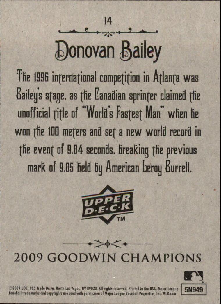 2009 Upper Deck Goodwin Champions #14 Donovan Bailey back image