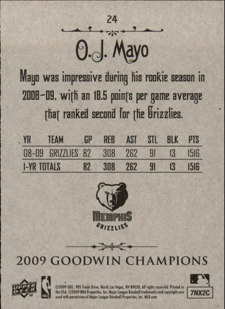 2009 Upper Deck Goodwin Champions #24 O.J. Mayo back image