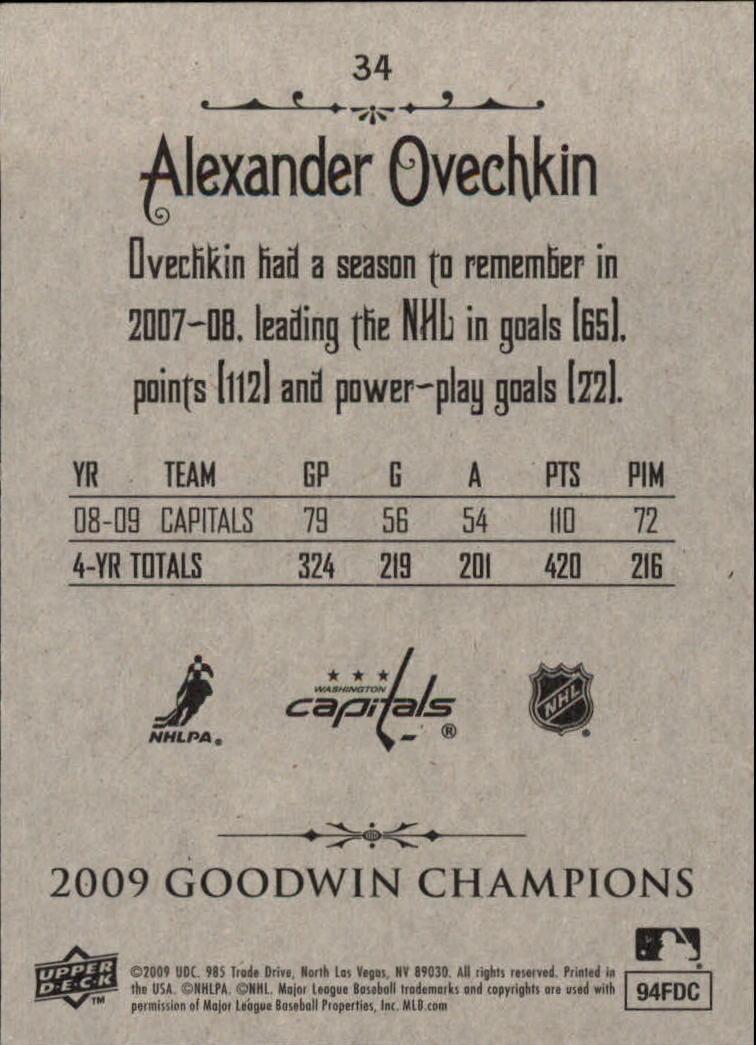 2009 Upper Deck Goodwin Champions #34 Alexander Ovechkin back image