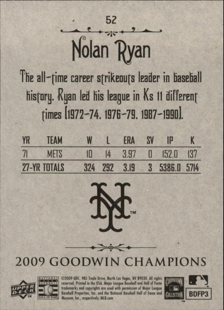 2009 Upper Deck Goodwin Champions #52 Nolan Ryan back image