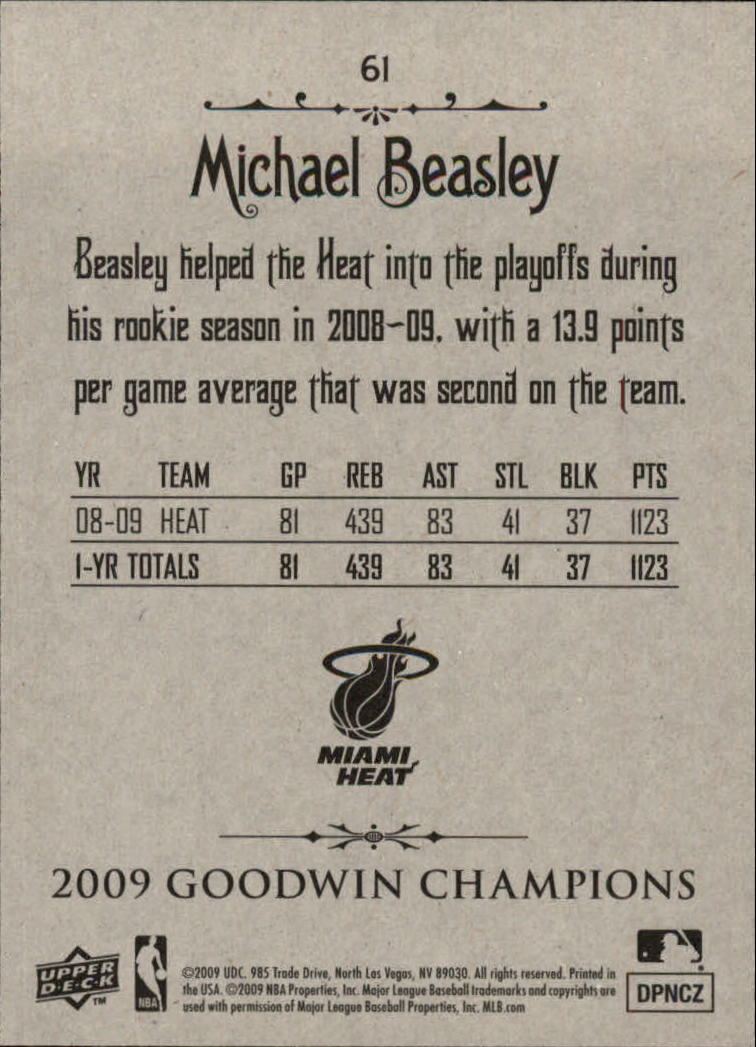 2009 Upper Deck Goodwin Champions #61 Michael Beasley back image
