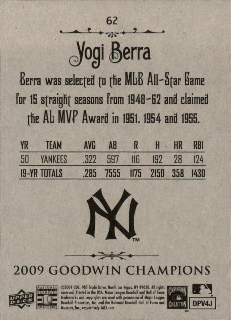 2009 Upper Deck Goodwin Champions #62 Yogi Berra back image