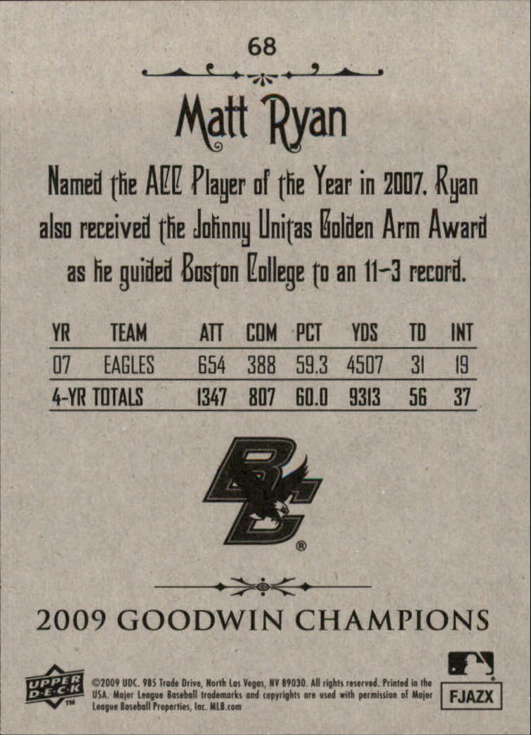2009 Upper Deck Goodwin Champions #68 Matt Ryan back image