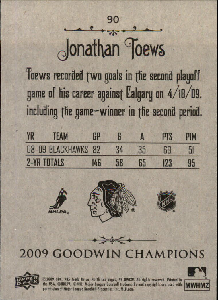 2009 Upper Deck Goodwin Champions #90 Jonathan Toews back image