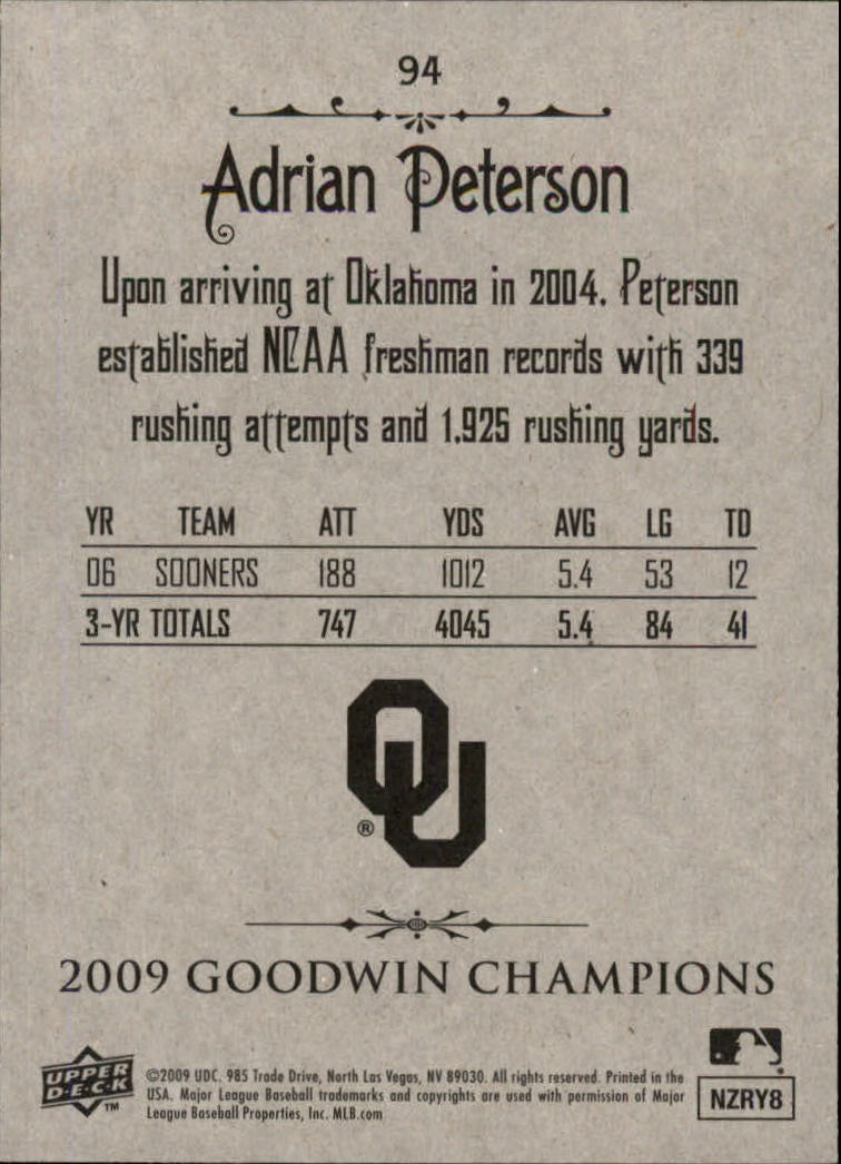 2009 Upper Deck Goodwin Champions #94 Adrian Peterson back image