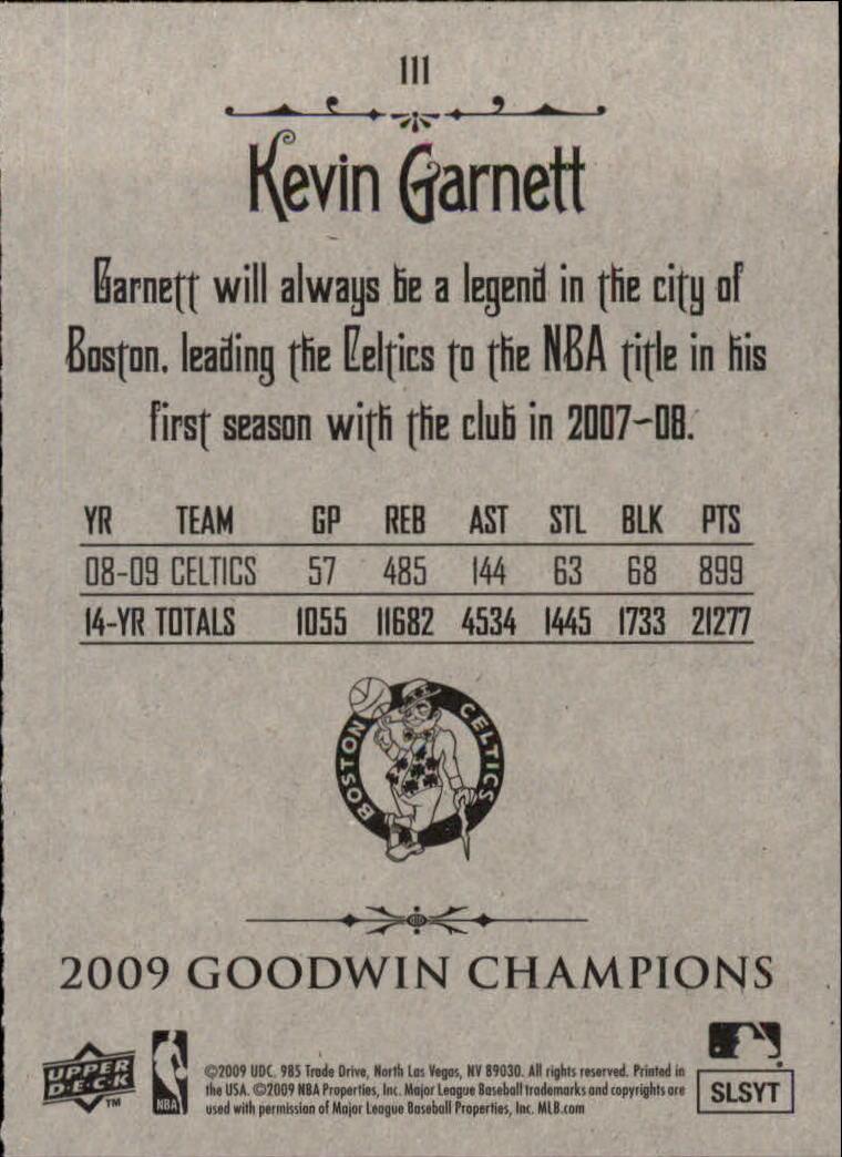 2009 Upper Deck Goodwin Champions #111 Kevin Garnett back image