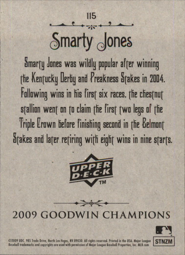2009 Upper Deck Goodwin Champions #115a Smarty Jones Day back image